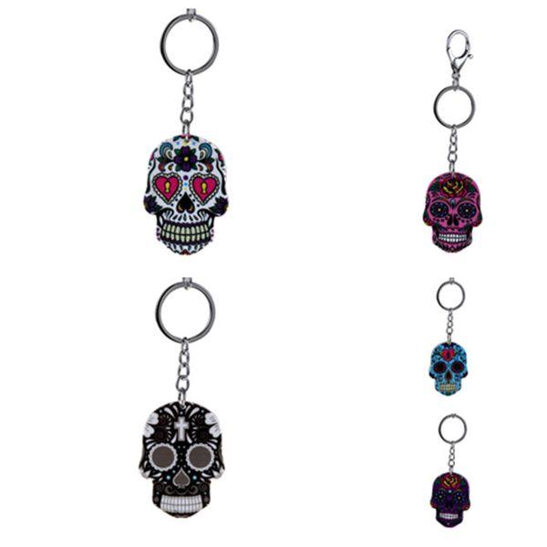 new Bohemia Skull Keychain 5 Colors Halloween Keyring Skeleton Metal Pendant Key Chain Halloween Novelty ItemsT2C5138