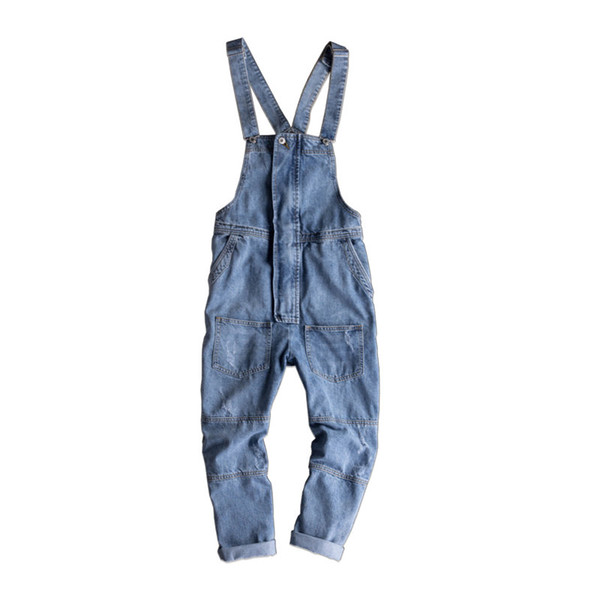 Autumn and Winter Thick Jeans Male Fashion Hip Hop Style Suspender Pants Korean Handsome Youthful Overalls