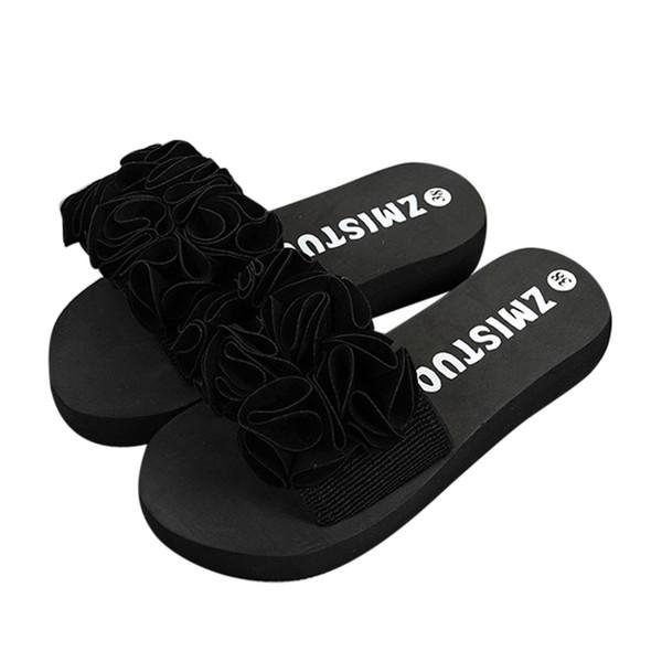 Venta caliente-Nuevo estilo Mujer Sandalias de verano de flores Zapatillas de casa Peep Toe Zapatillas de talla grande Zapatillas de playa de interior al aire libre Zapatos de playa 10