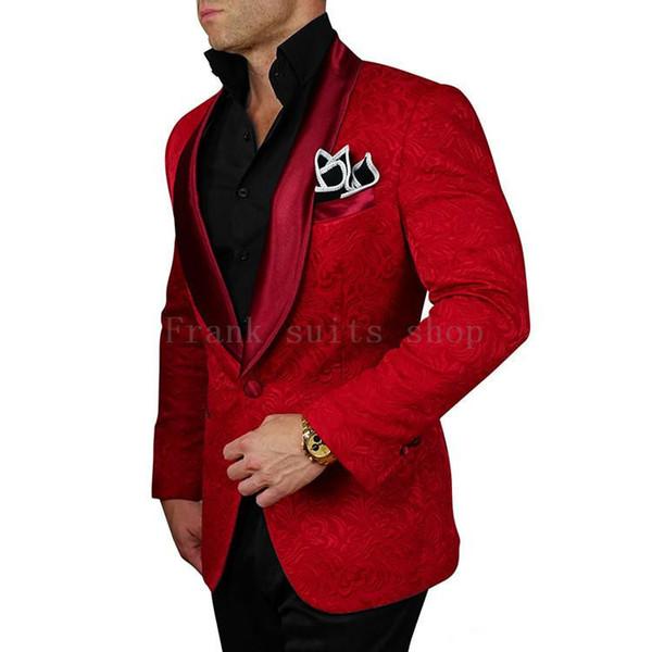 2018 Novo Estilo Vermelho Jacquard Preto Calças Do Noivo Smoking Xale Lapela Ternos Dos Homens de Casamento Melhor homem ternos (jaqueta + Calças) C18122501