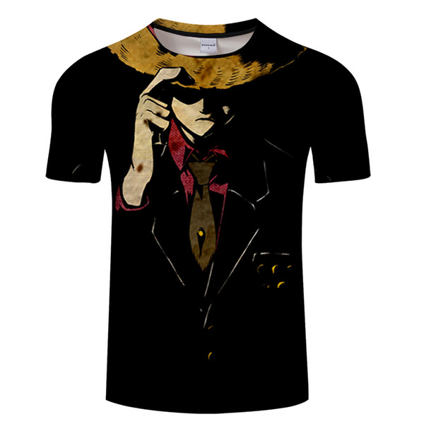 Summer Newest One Piece T Shirt Men Monkey D Luffy 3D Print T-Shirts Black Short Sleeve Cotton Anime Zoro Ace Law Hip Hop Tshirt