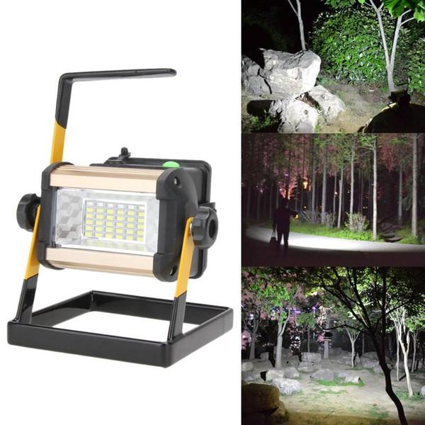 50 W 36 LED Lâmpada Holofote Recarregável Portátil 2400LM Holofotes Ponto de Inundação Luz de Trabalho para o Acampamento Ao Ar Livre Lâmpadas Com Carregador