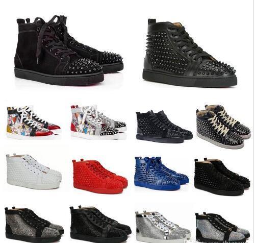 Meilleur Designer Chaussures cloutées Spikes Chaussures Hommes formateurs Bas Rouge Hommes Chaussures plates Party graffiti scintillent chaussures de mariage 20 couleurs SZ US 13