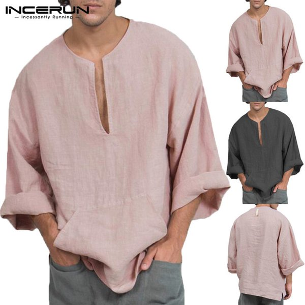 Incerun Man T Shirts Stylish Dress Mens Tshirt Long Sleeve Loose V Neck Joogers Casual Tee Camisas Autumn Men Clothing Hombre J190612