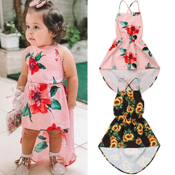 2019 Summer Toddler Kids Baby Girl Dress Sleeveless Backless Strap Sunflower Boho Asymmetrical Floral Sundress Clothes