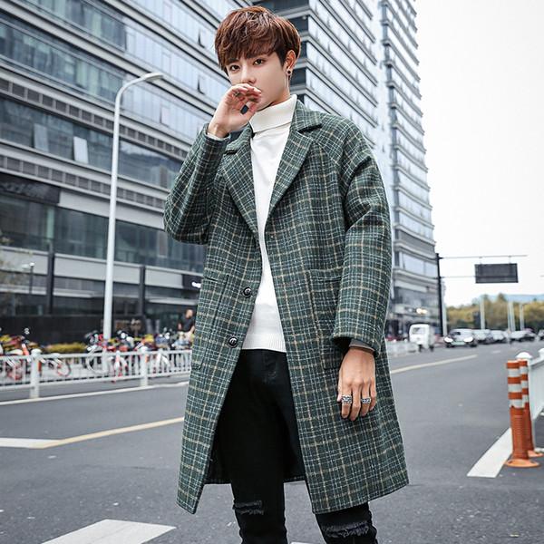 Long Overcoat Mens Korean Fashion Clothing Green Plaid Long Trench Coats Mens Jackets Loose Abrigos Hombre Erkek Mont Kaban