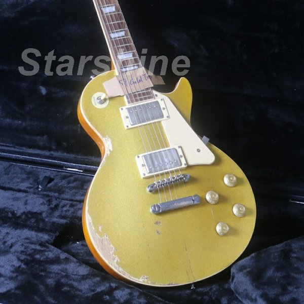 JEG6181 2018LP Gold TopElectric Guitar One Piece Body& Neck Nitrolacquer Stain Finish Alnico Pickups ABR Bridge