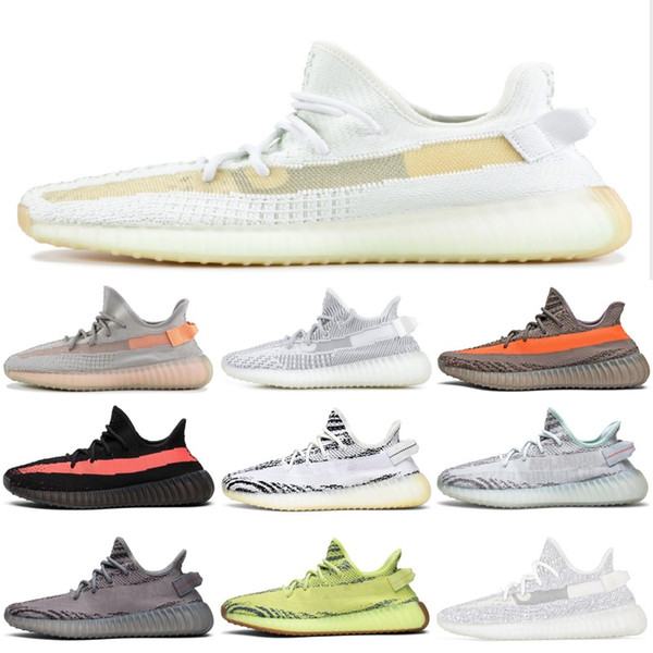 Compre Adidas Yeezy Boost 350 V2 Real Boost Static Jogging On Foot Bred Zebra Cream White Men Women Omari Sneakers With Box A $48.89 Del