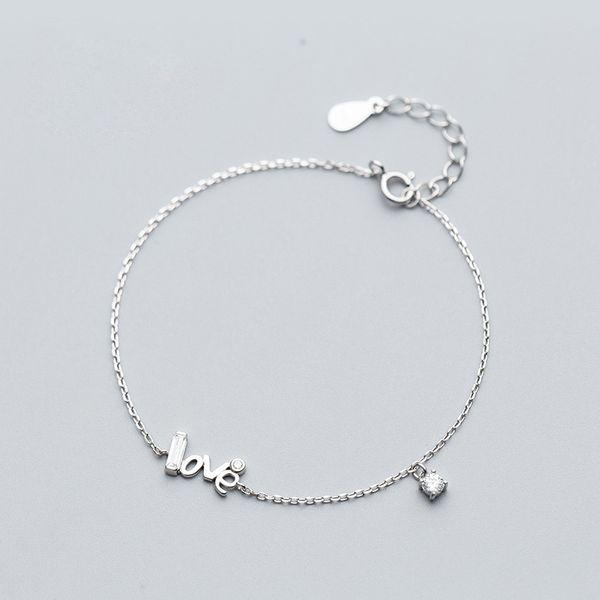 La MaxZa Minimalist Word Love 925 Sterling Silver Charm Bracelets For Women Girls Fashion Jewelry Womens Accessories Rose Gold