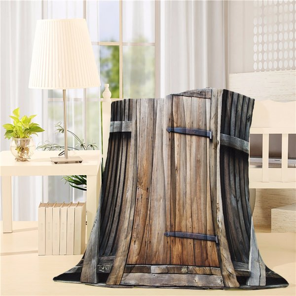 Brown Decor by Rustic Antique Wooden Door Exterior Facade Rural Barn Timber Weathered Lodge Picture Flannel Throw Blanket