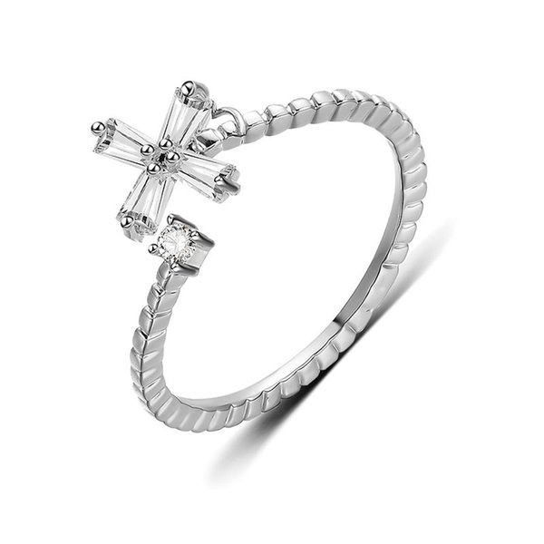 Transmit love 925 Silver colour ring for woman Creative cross-shaped zircon adjustable ring fashion women's jewelry Prom gifts