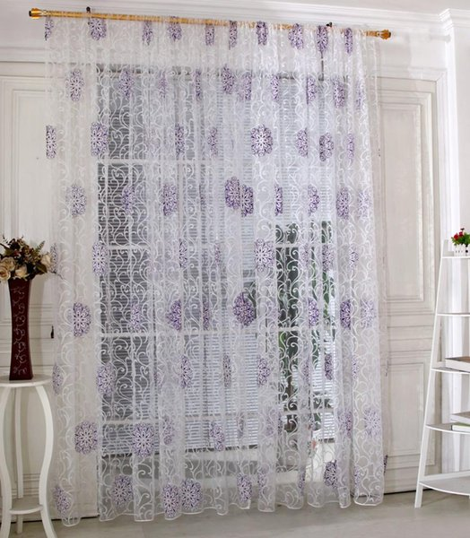 2019 Leaf Flower Tulle Light Transmission Window Curtain Voile Drape Sheer Scarf Valances Curtains For The Living Room From Adeir 40 87 Dhgate Com