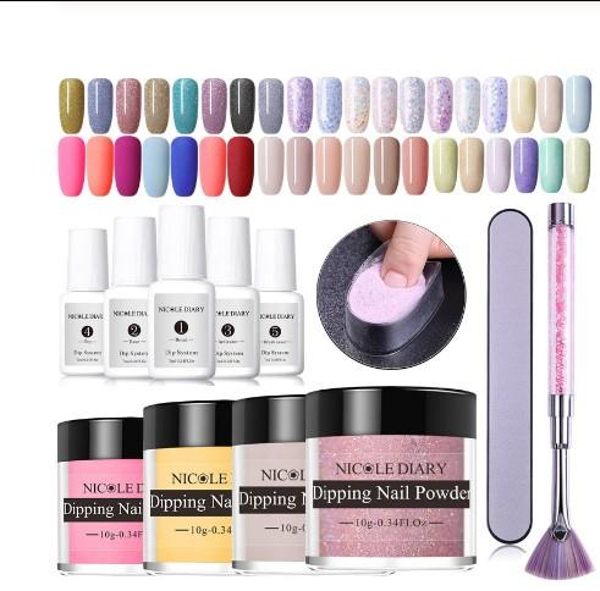 top popular 14pcs lot Dipping Nail Powder Kits Nude Dip Nail Glitter Powder Luminous Matte Gradient Pigment Dust Sequins 2020