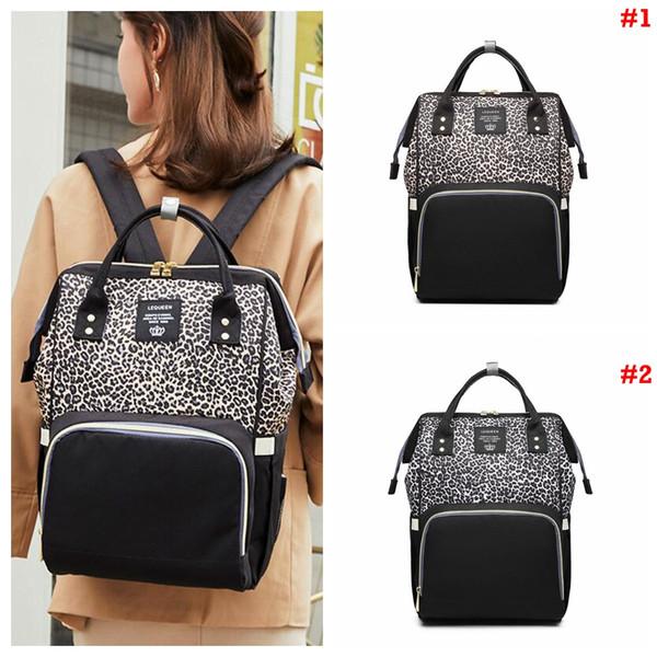 Leopard Diaper Backpack Travel Patchwork Large Capacity Waterproof Nappies Mommy Stroller Bag Organizer Bag Backpacks OOA6967