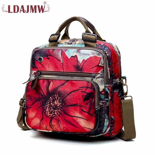 2019 FashionLDAJMW Large Capacity Oxford Backpack Women Backpack Multifunction Backpacks Travel Bag Casual Floral Printing Rucksack