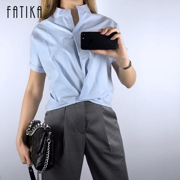 Fatika Solto Blusa Com Decote Em V Camisas Sólidas Gola Streetwear Tops de Manga Curta Da Moda Casual Plus Size 2019 Verão New Hot C19041301