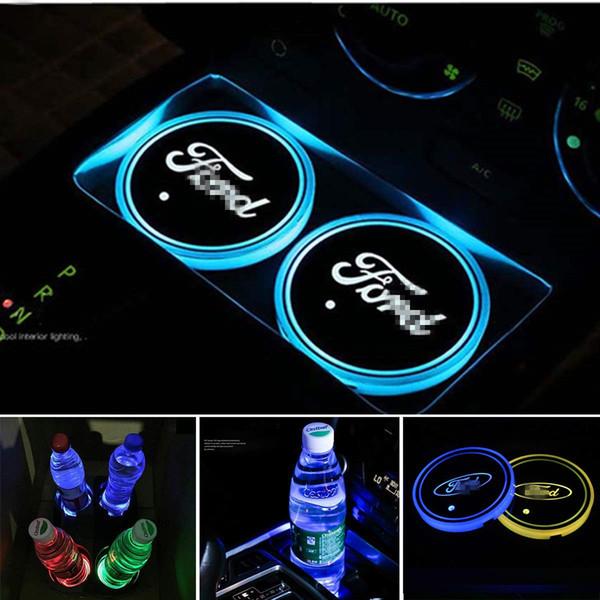 Авто спорт 2PCS Кубок LED держатель Мат Pad Coaster с USB аккумуляторная интерьера Украшение Свет для Форда
