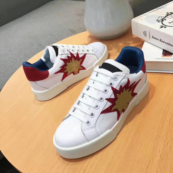 Marcas designer de sneakers lace-up de couro genuíno Sapatos brancos das mulheres Clássicos Sapatos Casuais MELHOR QUALIDADE SZ 5-10