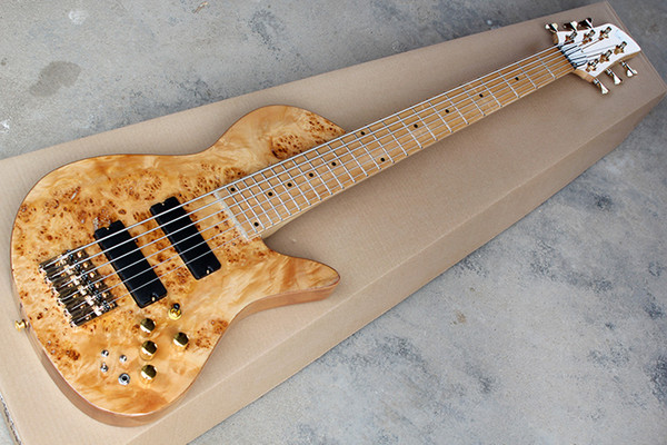 best selling Factory New 6 strings Maple Fingerboard Original Neck-thru-body Electric Bass Guitar with Golden hardware,Tree burl pattern,offer customize