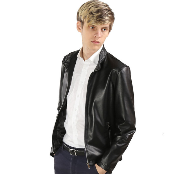 Drop Shipping Hommes printemps en peau de mouton Véritable Cuir Manteaux 3XL Moto Veste Real 2019 nouveaux vêtements Slim Fit Noir couleur manteau
