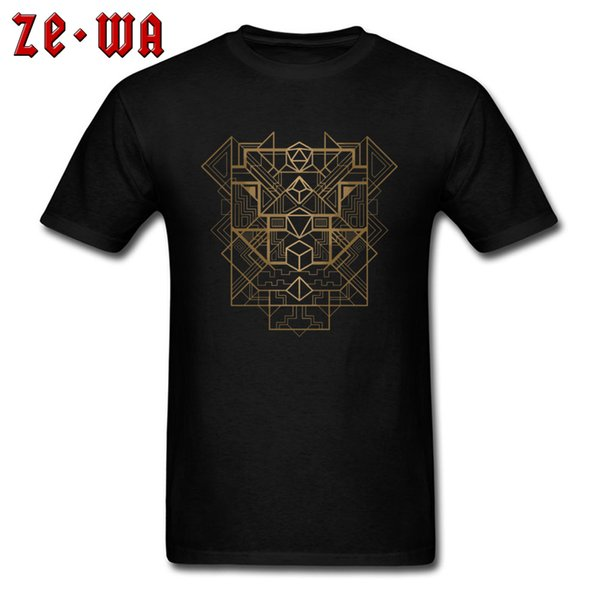Punk Men T Shirt DnD Dungeon And Dragons Tshirt Gamer Dice Deco Golden Geometric Designer T-shirts For Male Cotton Streetwear