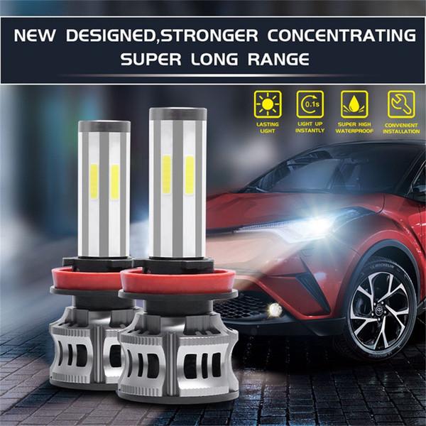2PCS Led prise étanche phare et jouer 6 LED côtés phares Kit haut Feux de croisement Ampoule voiture d'éclairage 3000K 6000K 8000K # 917g45