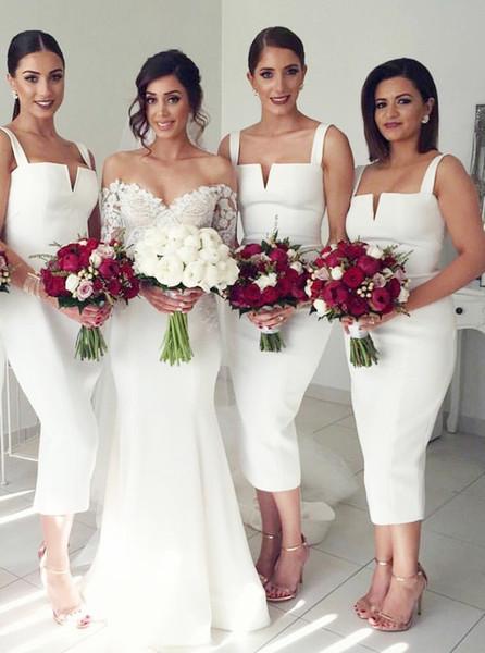 2019 Sheath Square Neck Mid Calf Sleeveless White Satin Bridesmaid Dresses Tea Length For Wedding Romantic Evening Gowns