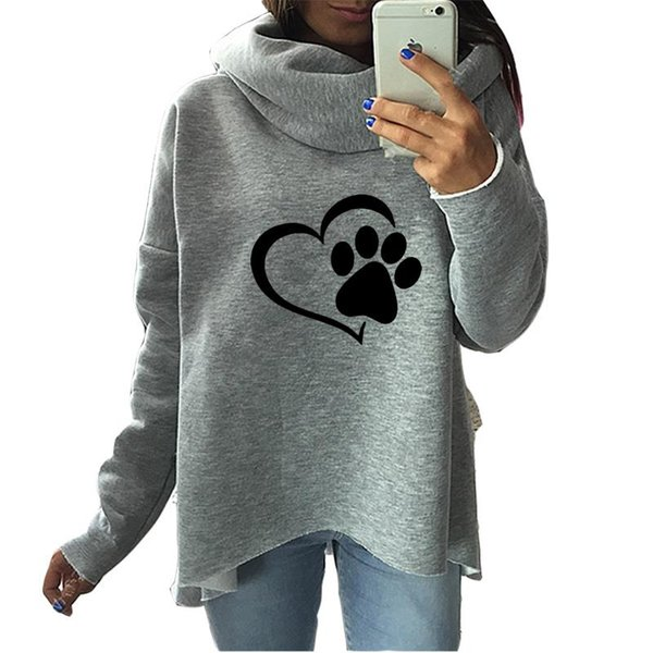 Fashion Heart Cat Or Dog Pat Print Pattern Clothes Women Hoodies Scarf Collar Casual Sweatshirts Pullovers For Female