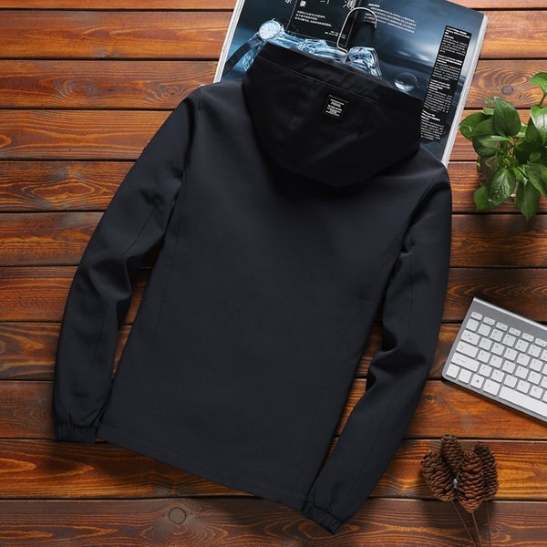 Fashion-2019 new High Quality Jacket Men Solid Hooded Jackets Mens Fashion Arrival Casual Zipper Outwear Slim Fit Spring Autumn Clothing