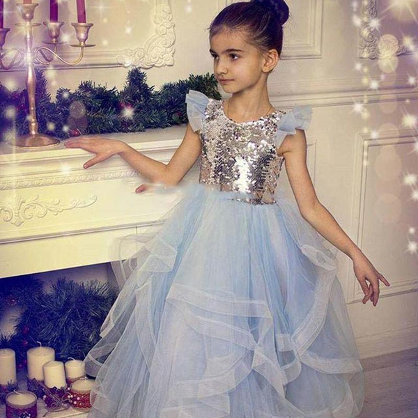 Sequined And Tulle Girls Pageant Gowns Silver Top Cap Sleeve Light Blue Tutu Skirt Flower Girl Dresses For Wedding Baby Party Dress