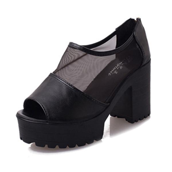 Dress Shoes Fashion Peep Toe Sandals Sexy Women Platform Pumps Mesh Thick High Heels Summer Platform Sandals High Quality