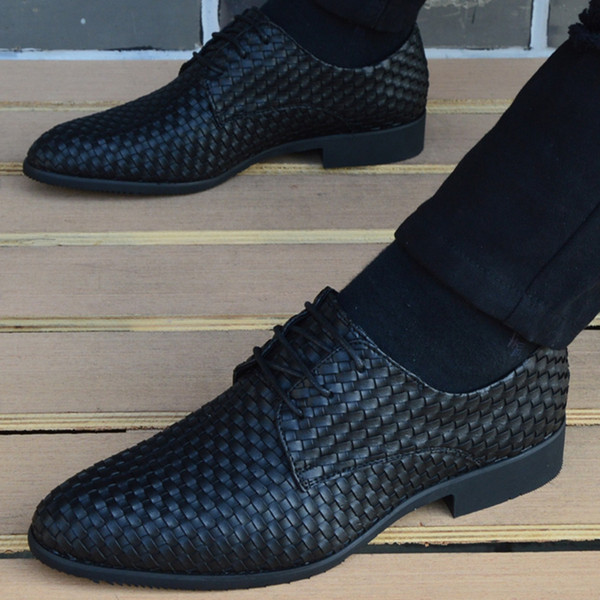 leather woven shoes oxford shoes for mens pointed toe dress men loafers italian formal wedding zapatos hombre casual