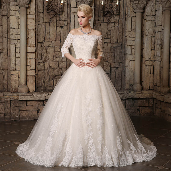 2019 Modest A Line Wedding Dresses Sheer Bateau Nec Lace Appliques Back Lace Up Country Style Chic Bridal Gown Custom Made Hot Sale