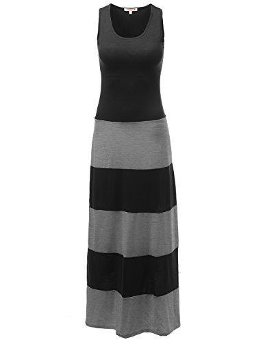 Vestido sin mangas a rayas con rayas en negrita y elástico casual de Awesome21 hecho en EE. UU.