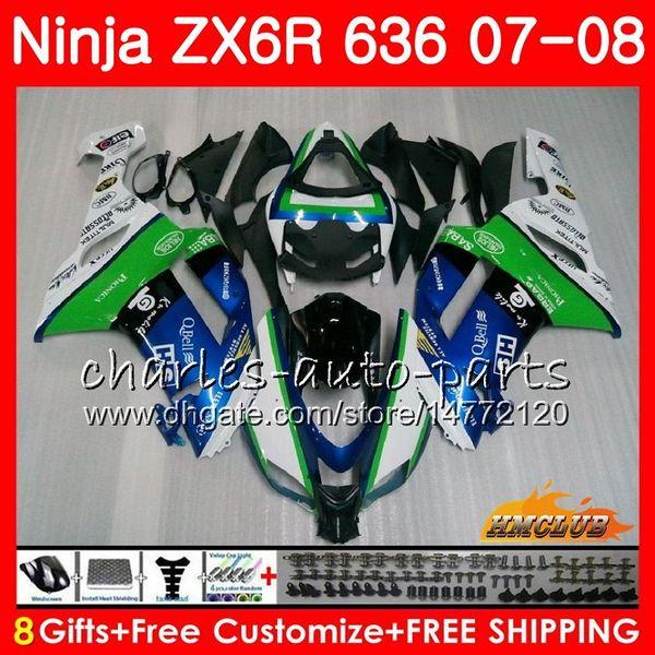 Body For KAWASAKI NINJA ZX 6R 6 R 600CC ZX-636 ZX636 07 08 34HC.11 ZX600 ZX6R blue green hot 07 08 ZX 636 600 CC ZX-6R 2007 2008 Fairing kit