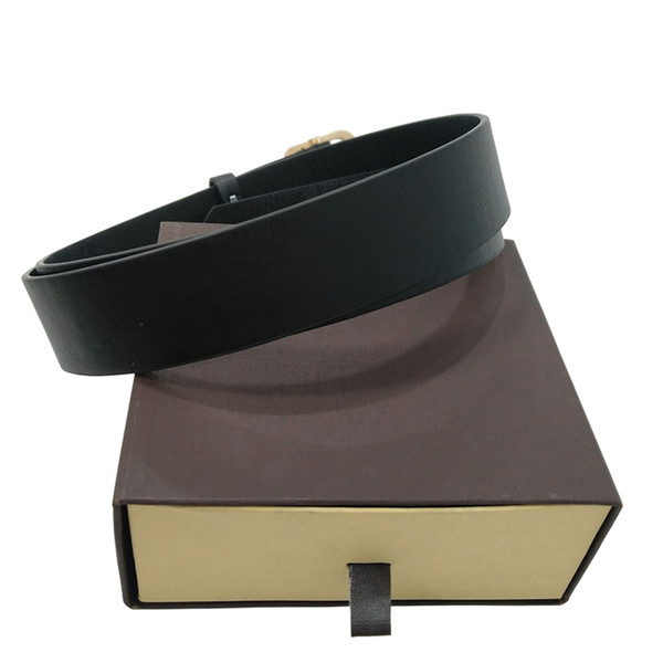 top popular Belts Mens Belt Fashion Belts Men Leather Black Business Belts Women Big Gold Buckle Womens Classic Casual Ceinture with Orange Box 56 123 2021
