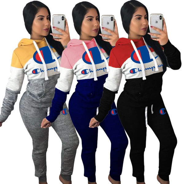 top popular women designer sportswear long sleeve sweat shirt pants tracksuit hoodie legging 2 piece set bodycon outfits fashion sports set hot klw0079 2020