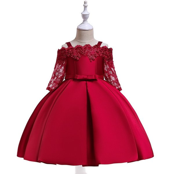 Open Shoulder Long Skirt With Two Shoulder Suspender Princess Lace Dress With Long Sleeves A-Line Pleated Skirt