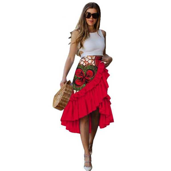 New 100% cotton women African wax skirts dress print skirt for women Bazin Riche Patchwork african style clothes WY3035
