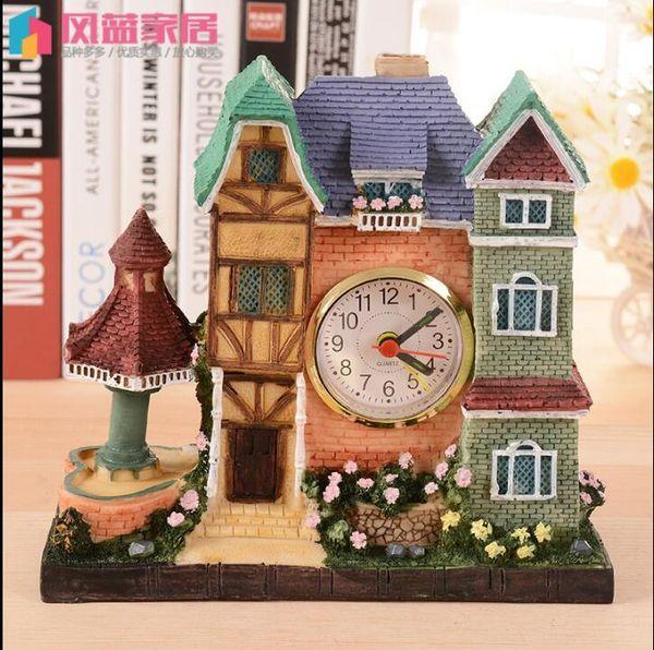 building house alarm clock high-end villa shape resin crafts student gift