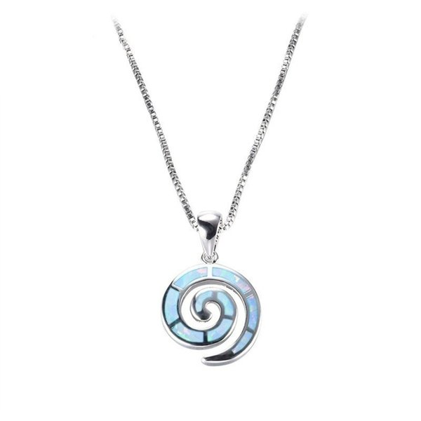 Bohemia Conch Spiral Blue Imitation Opal Pendant Necklace Acrylic Animal Chain Necklaces Women Boho Ocean Beach Jewelry Gift