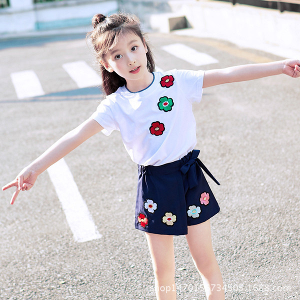 Hot Baby Girl Clothes Kids children Sets Girls' Wear Suits Summer sets Short Sleeves T Shirt +pant Cotton Baby Girl 4-12 Ages