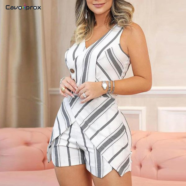 women sleeveless striped buttoned design romper skinny plunge v-neck bodycon slim fit casual street wear fashion playsuits, Black;white