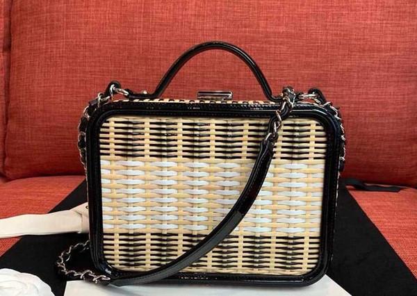 2018 ell fa hion de igner women handbag lady evening bag rattan weave box handbag chain cro body totel bag two tone houlder bag