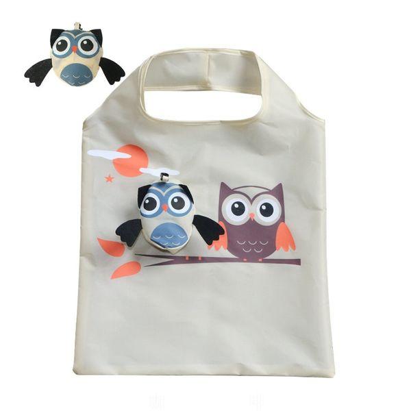 PACGOTH Portable Polyester Shopping Sacs Environnement Pliant Animal Owl Pattern Pliable Réutilisable Casual Shopping Totes 1 PC # 172050
