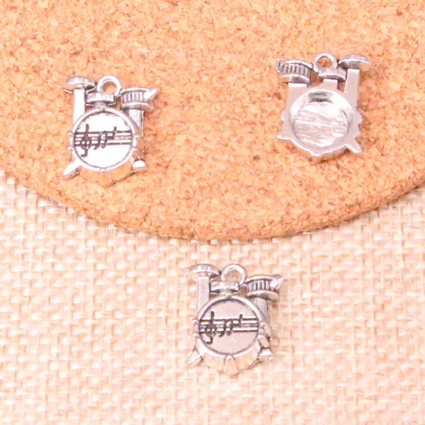67pcs Antique Silver Plated Drum Kit Charms Pendants fit Making Bracelet Necklace Jewelry Findings Jewelry Diy Craft 16*14*4mm