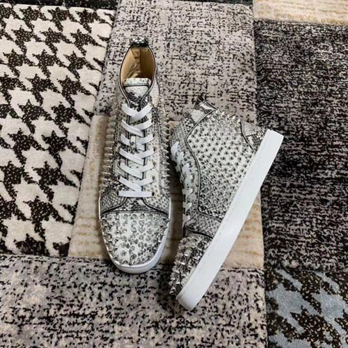 Top Quality Red Bottom Designer Men Shoes Flat High Top Python Lines With Spikes Men's Flat Party Wedding Casual Sneakers Outdoor Trainers