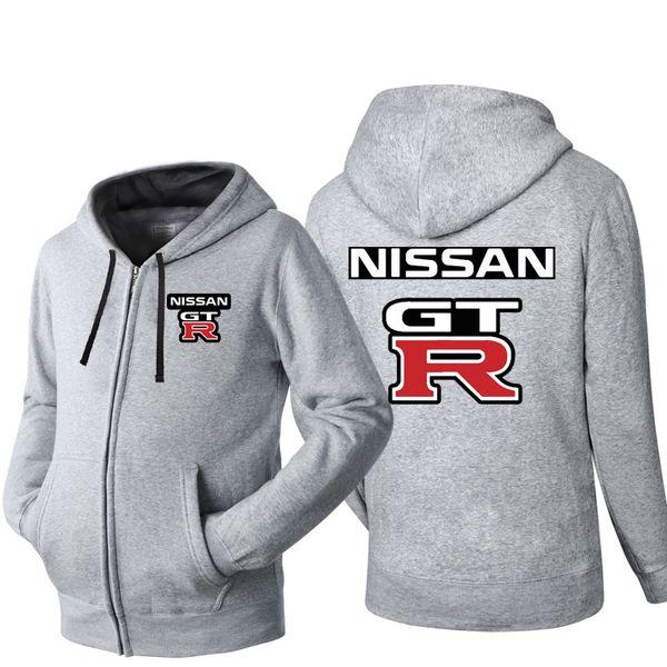 NISSAN GTR Brand Car Logo Print Hip Hop Hooded Cardigan for Men Zipper Comfy Spring Autumn Hoodies Long Sleeve Sweatshirts Male Jackets Coat