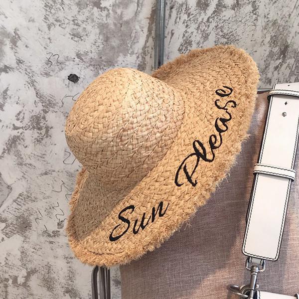 Kadın Mektup Baskı Hasır Şapkalar Moda Lady Mektubu Işlemeli Lafite Sunhat Nefes Yaz Geniş Ağız Plaj Güneş Şapka RRA1553