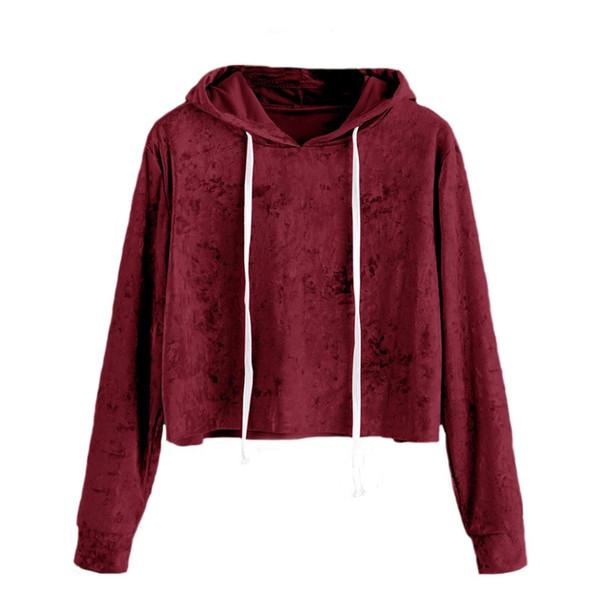 Onner Damen Short Hoodie, Damenmode Herbst Samt Lose Kordelzug Langarm Einfarbig Hoodie Sweatshirt (XL, Pink)